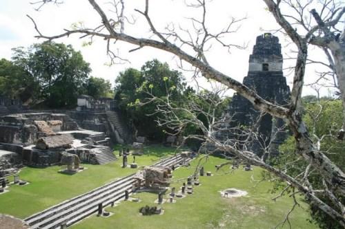 Tikal vue de la place centrale